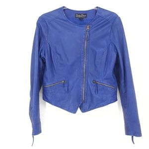Lucky Brand d Size Large Blue Leather Motor Jacket
